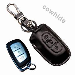 Echtes Leder Car Key Fob Abdeckung für Hyundai Creta ix25 Grand i10 Xcent Elite i20 i40 Schlüsselhalter Tasche Auto Schlüsselbund Zubehör von Fabrikanten