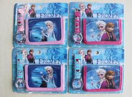 Wholesale Princess Watches - Frozen Lovely kids Cute Princess Anna&Elsa Cartoon Watch and forzen Wallet Children Watch WristWatch High Quality 10 set