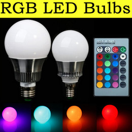 Wholesale led coloured bulb - RGB LED Bulbs 5W 10W E27 LED Light 900 Lumen 16 Colour Changing E14 Globe Spotlight 85-265V LED Lamp with Romote Controller Home Lighting