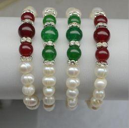 Wholesale Fresh Bracelets - 9-10MM Pure Natural Fresh Water Oyster Pearls agate Bracelet Elastic force Pearl Jewelry Wedding Pearl Bracelet