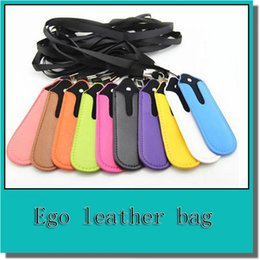 Wholesale Ecig Leather Lanyard - High quality ego lanyard necklace string with PU leather carrying pouch pocket nylon neck sling rope round corner case bag for ecig battery