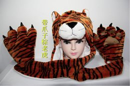 Wholesale Children Scarf Gloves - New Fashion winter animal hat even paw gloves 3 syncretic plush hat tiger Hats Scarves & Gloves Sets child Unisex