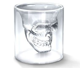 Wholesale Collectible Antique Glass - New arrival Crystal Skull Head Vodka Shot Glass Pirate Glasses Beer Mug 2.5 ounces Ware Bar Creative Original Skeleton Wine Whisky Gift