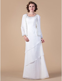Wholesale Dresse Jackets - 2015 Mother's Dresse Evening party Dresses Sheath Column Scoop Floor-length Chiffon Mother of the Bride Dress Wevening gowns With the jacket