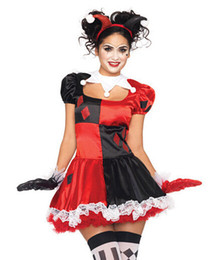 Wholesale Funny Costume Adult Women - Wholesale-Adult Harley Quinn Costume Funny Clown Circus Cosplay Carnival Halloween Costumes For Women Performance Party Dress