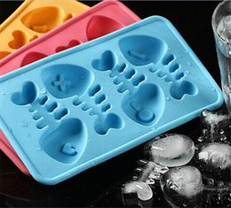 Wholesale Silicone Fishbone - Novel Fun Fishbone FISHBONE Cocktails Silicone Mold Ice Cube Tray Chocolate Fondant Mould diy Bar Party Drink
