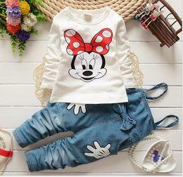 Wholesale Minnie Shirts - 2016 Spring Autumn Children Clothing 2PCS Sets Girls Mickey Minnie Mouse Tshirts Tops Suspender Pants Set Kids Tee Shirt Trouser D6533