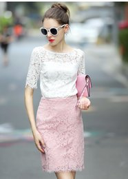 Wholesale Tshirt Tops Skirts - S M L XL new arrival woman lace skirts tshirt (top+skirt) 4colors