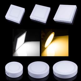 Panel de montaje en superficie led luz 18w online-AC85-265V 6w 12w 18w 24w montado en superficie led downlight Ronda panel de luz SMD2835 Ultrathin círculo lámpara de techo Down lámpara cocina baño