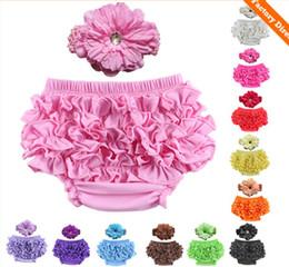 Baby-slips online-2016 New Born Baby Mädchen Blume Stirnband PP Hosen Sets Infant Kinder Briefs Stirnbänder Floral Set D6270