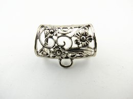 Tube bails en Ligne-Popular DIY Jewellery Scarf Pendant Findings Silver Mental Alloy Charm Flower Slide Holding Tube Bails, Free Shipping