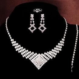 Wholesale Womens Bridal Sets - Charms Womens' jewelry Sparkling Shaped Rhinestone Austrian Crystal Necklace Earrings Set Charm Wedding Bridal Jewelry Set