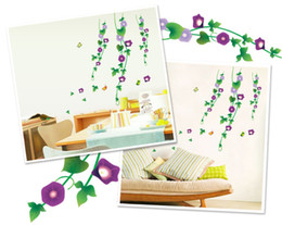Wholesale Morning Glories Plants - Free Shipping glass porch sitting room sofa background stickers dining-room Purple morning glory wall stickers room decor Vinyl