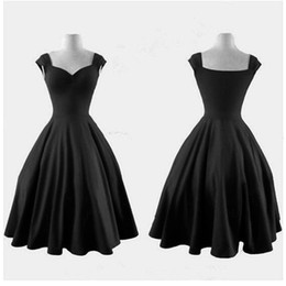 Wholesale Black Rockabilly Plus Size Dress - Audrey Hepburn Style 1950s 60s Vintage Bridemaids Dresses Inspired Rockabilly Swing Evening Party Dresses 2017 Plus Size Bridemaids Gowns