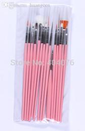 Wholesale Cheap Elegant Pens - Wholesale-2015 New Brand Cheap Nail Tools Portable 15Pcs Nail Art Painting Drawing Pens Elegant Nail Dotting Pen #228
