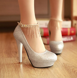 Wholesale Gold High Heels Prom - 2016 New Free Shipping Fashion Rhinestone Sequins Wedding Shoes Women High Heels Bridal Evening Prom Party Bridesmaid Shoes Silver Red Gold