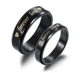 Wholesale Couple Wedding Rings Black Heart - Fashion Jewelry Black Titanium Steel Ring Forever Love Heart Letter Lovers Wedding Engagement Couple Rings For Women Men ty