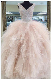 Wholesale luxury ball gown ruffles - 2016 Luxury Real Image Quinceanera Dresses Sweet 16 Years Prom Ball Gowns Beads Crystals Floor Length V Neck Formal Dress Custom Made