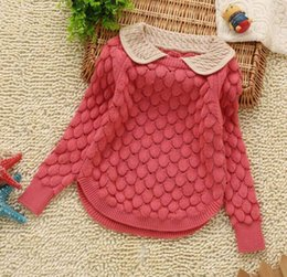 Wholesale Children Red Pullover Sweater - Girl Sweater Children Kids Spring Autumn Flaps Turn down Collar Knitting Pullover Sweater 2-5Y 8858