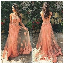 Wholesale Long Dress Lace Overlay - 2018 Sheer Sleeveless Lace Appliques Prom Dress Long Vestidos De Bridesmaid Dress Backless Tulle Overlay Girls Long Evening Gowns Custom