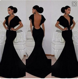 Wholesale Classy Black Formal Gowns - 2016 Classy Black Prom Dresses Sexy Backless Party Gowns Mermaid Floor Length Deep V neck Women Formal Dresses