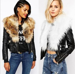 Wholesale Large Lapel Leather - Winter New women PU leather jackets Imitate Fur Large Fur Coat Outerwear Female blue faux fur plus size casual overcoat free shipping