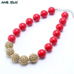 Wholesale Solid Gold Beads Wholesale - MHS.SUN Solid Red+Gold Color Kid Chunky Necklace Christmas Gift Toddlers Girls Bubblegum Bead Chunky Necklace Jewelry Gift For Children