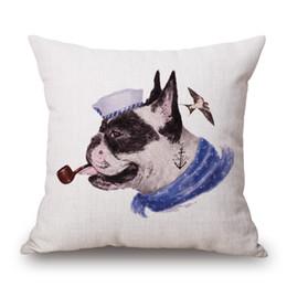 Hipster Chic Animals Anchor Sailors Covers Covers Bulldog Red Fox Bear Cuscino per cani Cuscino decorativo in cotone Lino per camera da letto da cuscino rosso cane fornitori