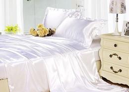 Reine de soie à la devette en Ligne-Draps de soie mis ensemble de literie blanc satin de soie en soie super king taille double housse de couette doona équipée draps couvre-lits 6pcs
