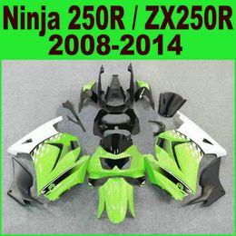 Zx 14 carenados online-Moldeo por inyección para el kit de carenado kawasaki Ninja 250R 2008-2014 año ZX250R ZX 250 08-14 EX250 carenados blanco negro conjunto Ft13