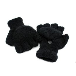 Wholesale Flip Gloves - Wholesale-CoolMall-2015 Winter New Design Warm Soft Half Fingers Multi Lovely Flip Fingerless Gloves