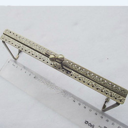 Wholesale Clutch Clasp Frame - 19cm vintage bronze carved pattern triangle side women purse frame DIY clutch bag metal clasp 3pcs lot