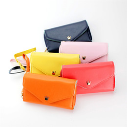 Wholesale Mini Pink Crown - Wholesale-Summer Mint Multifunction Women Wristlet Wallets Pink Coin Case Mini Purse Small Crown Wallet Clutch Mobile PU Leather Bag
