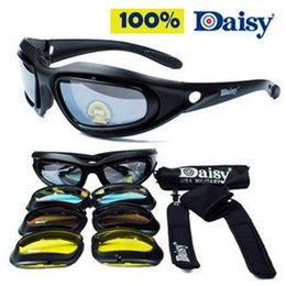 Wholesale Desert Sunglasses - Wholesale-Daisy C5 Desert Storm Sunglasses 4 lenses Goggles Tactical Eyewear Riding Cycling Eye Protection For Airsoft UV400 Glasses