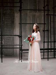 Wholesale Wedding Gown Jackets Bolero - Summer Style Bohemian Wedding Dress Blush Pink Rustic Lace Long Sleeves Wedding Gowns Applique Pearls Boho Bridal Dresses with Bolero Jacket
