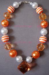 Wholesale Orange Resin Necklace - ORANGE DREAMSICLE - Bubblegum Beaded - Little Girl - Orange Necklace - Chunky Necklace - Girl Clothing CB144