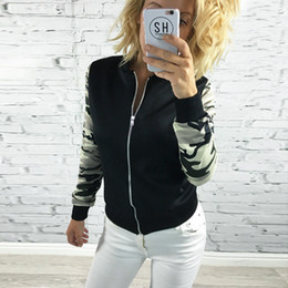 Wholesale Ladies Camouflage Shorts - Wholesale- On sale New spring Womens Ladies long sleeve ARMY green Camo Camouflage Zip Up Bomber Jacket Basic splice Coat