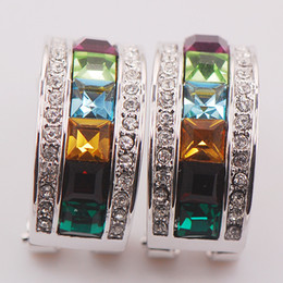 Wholesale Emerald 925 - Garnet Peridot Aquamarine Citrine Emerald Woman 925 Sterling Silver Crystal Earrings TE470
