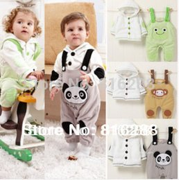 Wholesale Overall Monkey - Baby Overall Clothing Set Animal Fleece Spring Long Sleeve Hooded Clothes Set For Baby Boy Monkey Panda Frog