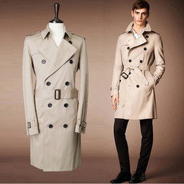 Wholesale Long Women Pea Coats - Wholesale- 2017 London fashion designer brand classic European windbreaker M - XXL beige blue double-breasted men and women pea coat 759