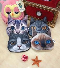 Wholesale Buggy Pouch - Wholesale 20 pcs 3D Printer Cat face coin purse wallet Women handbags Zipper coins pouch child makeup buggy bag Lady pouch key holder