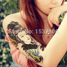 Wholesale Tattoos Arm Time - Wholesale-Lotus arm of Buddha guanyin bodhisattva original black and white sticker one-time tattoo coloured drawing or pattern