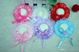 Wholesale Topknot Clip - 20pcs New Cute Caps pet hair clips Lace Rhinestone bowknot topknot Princess pet hair bows for Festival dog hair grooming product 061010