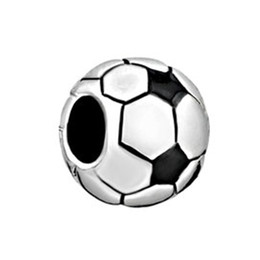 Wholesale Football Holidays - Fashion Jewelry Large Hole Metal Bead Soccer Football Sport European Beads Loose Charms Fits Pandora Bracelet