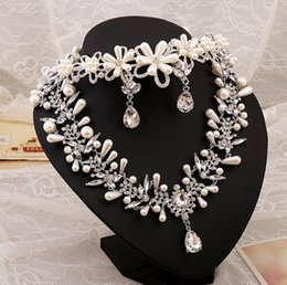 Wholesale Dropping Earring Good Quality - 2015 Sterling Sliver Flower Pearl Wedding Bridal Jewelry Set Cheap Good Quality Free Shipping Necklace And Earrings In Stock Hot Sale