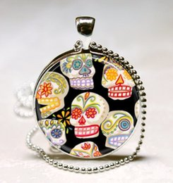 Wholesale Day Dead Skulls - Sugar Skulls Necklace Day of the Dead Jewelry Dia De Los Muertos, Skeletons, Mexicana Art Pendant with Ball Chain Necklace