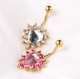 Wholesale Belly Rings Sale - Plated 18K Gold Heart Navel Piercing Body Jewelry Fashion Belly Rings Stainless Steel And Zinc Alloy Belly Button Rings For Sale