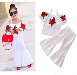 Wholesale Rose Bell - New Fashion Girls Sets Red Rose Flower Embroidered Off Shoulder Tops + Bell-bottoms 2piece Set Summer Outfits Baby Suits B11