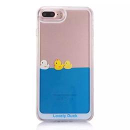 Wholesale Duck Back - For iPhone 7 Case Kawaii Cute Duck Ocean Blue Liquid Quicksand Glitter Case For Case iPhone X 8 7 Plus 6 6S Plus 5 5S Back Cover