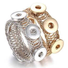 Wholesale One Direction Charms Wholesale - NOOSA Three Snaps Button Chunks Bracelet 12MM 18MM Snap Bangles Gold Silver Adjustable Elastic Snap Bracelet Watches One Direction